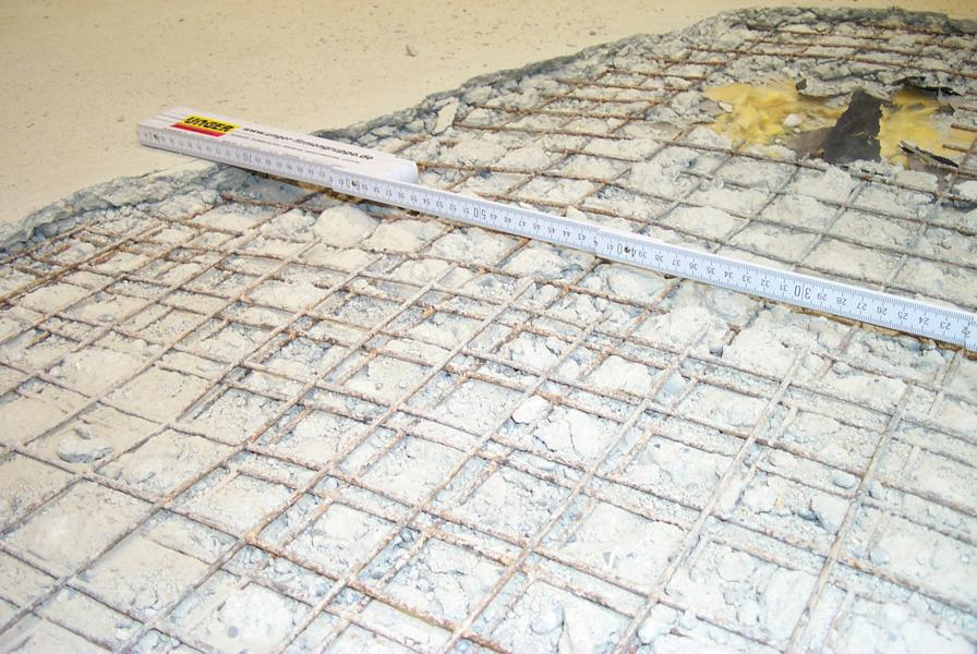 Examination of the reinforcement cover in the screed of a Convention Centre