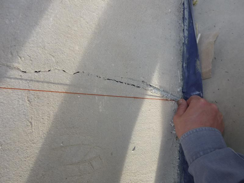 Examining the straightness of expansion joints in an educational institution in Rosenheim